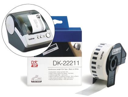 Etiquetas ETIQUETA BROTHER DK22211 CINTA PLASTICA CONTINUA ADHESIVA BLANCA 29MMX15,24MTS