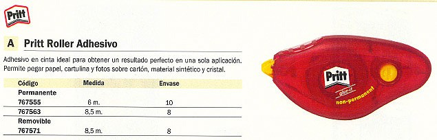 ENVASE DE 8 UNIDADES PRITT ADHESIVO PERMANENTE 8,5M ROLLER EN CINTA SECO EN TINTA 1566935