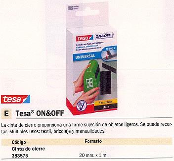 TESA CINTA ON&OFF DE CIERRE 20 MM X 1 M 55224-00002-02