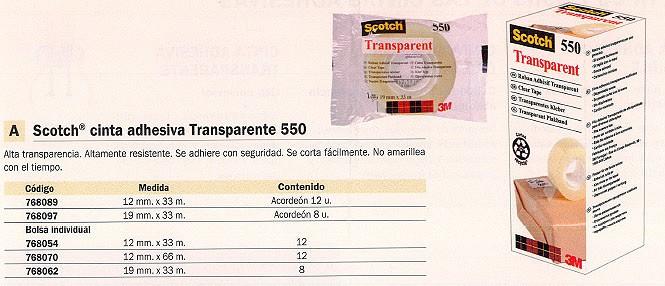 SCOTCH CINTA ADHESIVA 550 19X33 MM TRANSPARENTE RESISTENTE FT510283789