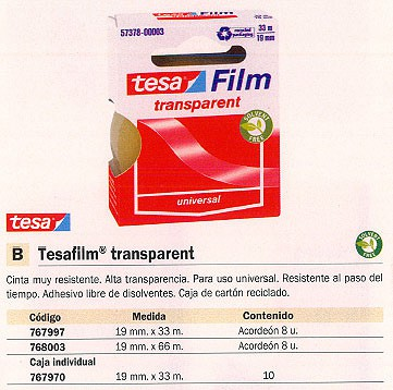 TESA CINTA ADHESIVA TRANSPARENT 19X33 MM TRANSPARENTE RESISTENTE SIN DISOLVENTES 57378-00003-00