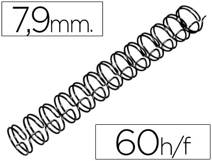 Espirales MARCA BLANCA ESPIRAL WIRE 3:1 7,9 MM N.5 NEGRO CAPACIDAD 60 HOJAS CAJA DE 100 UNIDADES