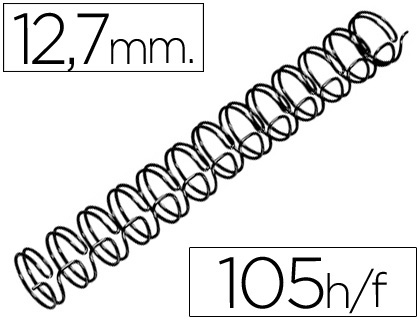Espirales MARCA BLANCA ESPIRAL WIRE 3:1 12,7 MM N.8 NEGRO CAPACIDAD 105 HOJAS CAJA DE 100 UNIDADES
