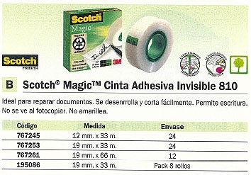 SCOTCH CINTA ADHESIVA MAGIC INVISIBLEMEDIDAS 12 MM. X 33 M.REF.FT510009390