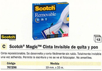 ENVASE DE 12 UNIDADES SCOTCH CINTA MAGIC ADHESIVA 19 MMX33M PERMITE ESCRITURA FT510005604