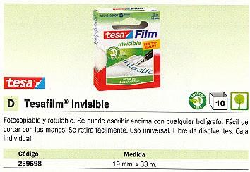 ENVASE DE 10 UNIDADES TESA CINTA ADHESIVA INVISIBLE 19 MMX33M USO UNIVERSAL FOTOCOPIABLE Y ROTULABLE 8100304