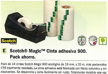 SCOTCH CINTA ADHES.PACK AHORRO 900 C/PORTARROLLOS PACK 14U 19X33 MM FOTOCOPIAB. ROTULABLE FT510284001