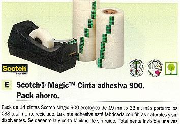 SCOTCH CINTA ADHESIVA PACK AHORRO 900 C/PORTARROLLOS PACK 14U 19X33MM FOTOCOPIABLE-ROTULABLE FT510284001