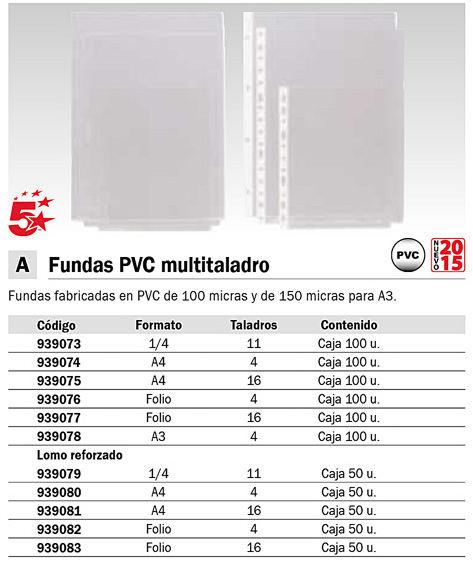 5 STAR PACK 100 FUNDAS 4 TALADROS A3 HORIZONTAL PVC REF.4300256706