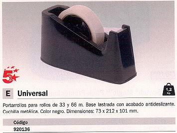 5 ESTRELLAS PORTARROLLOS UNIVERSAL 73X212X101MM ROLLOS DE 33 Y 66 M CUCHILLA METÁLICA