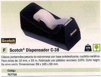 SCOTCH PORTARROLLOS C-38 SOBREMESA 69X165X69MM BASE ANTIDESLIZANTE ROLLOS 16MM X 33M FT510280579