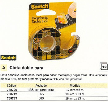 SCOTCH CINTA 665 ADHESIVA 19X33MM DOBLE CARA SIN FILM PROTECTOR FT510049966