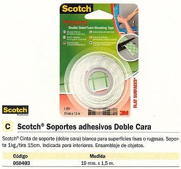 SCOTCH CINTA DE MONTAJE BLANCA DE DOBLE CARA 19 MM X1,5M70016072814