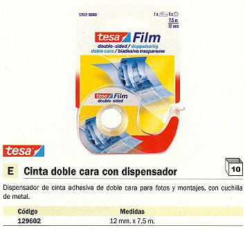 TESA CINTA ADHESIVA DOBLE CARA 7,5X12 MM CUCHILLA DE METAL CON DISPENSADOR 57912-00000-00