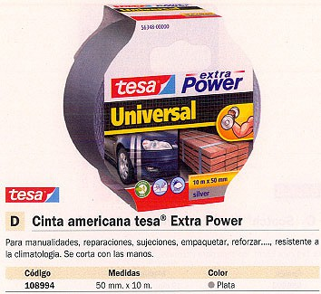 TESA CINTA AMERICANA EXTRA POWER PLATA 50 MMX10M FACIL CORTE RESISTE AL CLIMA 56348-00000-06