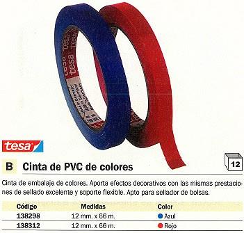 ENVASE DE 12 UNIDADES TESA CINTA EMBALAJE 12 X 66 MM ROJO PVC 04204-00050-00