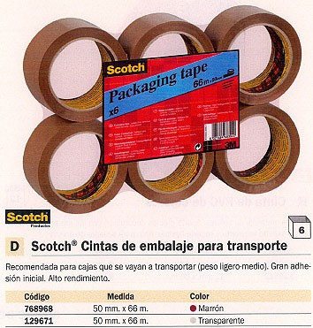 ENVASE DE 6 UNIDADES SCOTCH CINTA EMBALAJE 50MMX66M TRANSPARENTE KT000028565