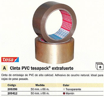 ENVASE DE 6 UNIDADES TESA CINTAS EMBALAJE 50MMX66M MARRON PVC 04120-00042-00
