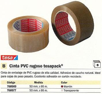 ENVASE DE 6 UNIDADES TESA CINTA EMBALAJE 50 MMX66M MARRÓN PVC DE ALTA CALIDAD PVC DE ALTA CALIDAD 04100-00228-00