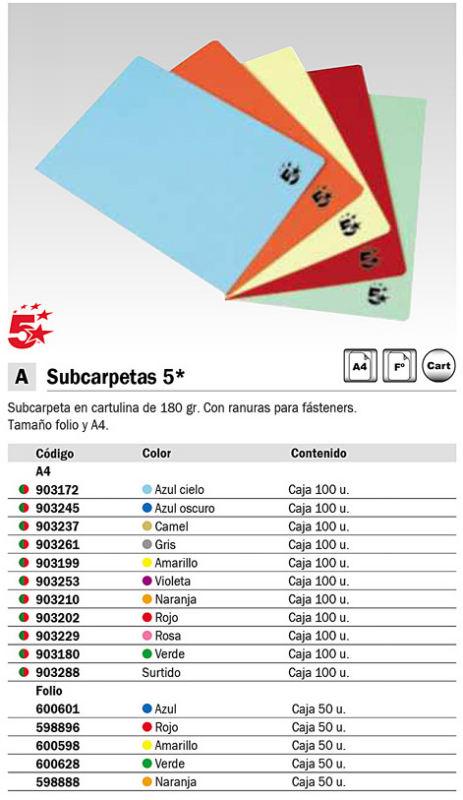 5 STAR SUBCARPETAS PACK 100 UD 24X32 COLORES SURTIDOS 180 G 902121<BR>ARTÍCULO A EXTINGUIR CONSULTAR DISPONIBILIDAD