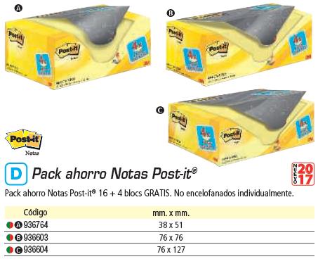 Post-it gran formato POST-IT PACK.16+4 BLOC 76X127 AM