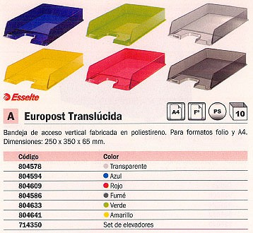 BANDEJAS SOBREMESA EUROPOST 250X350X65 TRANSPARENTE