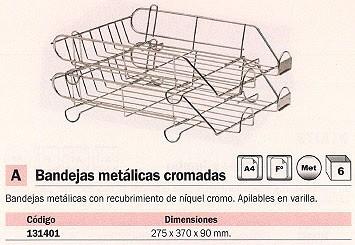 ENVASE DE 6 UNIDADES MACAMSA BANDEJAS SOBREMESA 275X370X90 METÁLICA CROMADA APILABLE U205