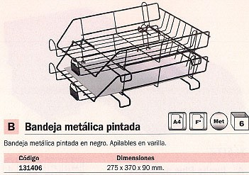 ENVASE DE 6 UNIDADES MACAMSA BANDEJAS SOBREMESA 275X370X90 NEGRA METÁLICA CROMADA APILABLE U219N
