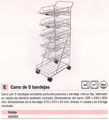 MACAMSA CARROS BANDEJAS 5 BANDEJAS 295X430X950 BANDEJAS 275X370X90 4 RUEDAS U214