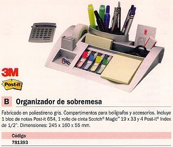 3M BANDEJA ORGANIZADORA SOBREMESA 245X160X55 GRIS INCLUYE ACCESORIOS C 50