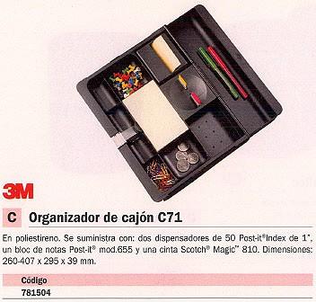 3M ORGANIZADOR DE CAJÓN SOBREMESA 260 407X295X39 MM NEGRO C 71