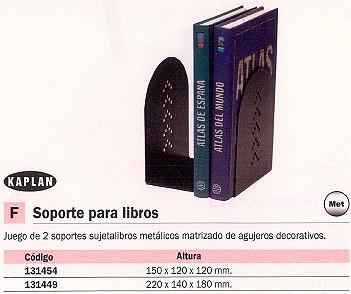 ENVASE DE 2 UNIDADES KAPLAN SOPORTE SUJETALIBROS METÁLICO 220X140X180 MM. APG
