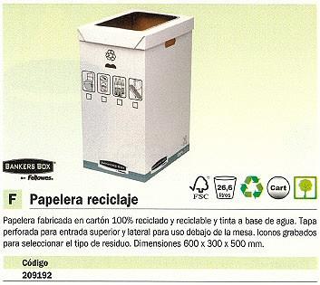 FELLOWES PAPELERA RECICLAJE DE CARTÓN 90L ROJO 0193201