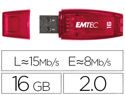 MEMORIA USB EMTEC FLASH C410 16 GB 2.0 ROJO
