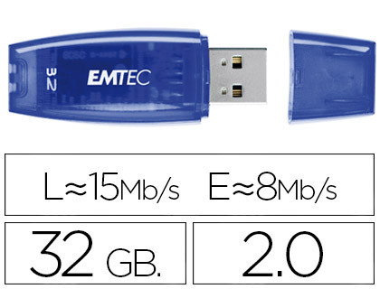 MEMORIA USB EMTEC FLASH C410 32 GB 2.0 AZUL