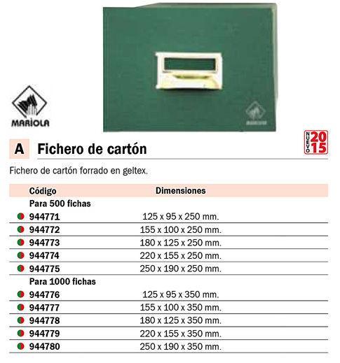 MARIOLA FICHERO CARTÓN FORRADO EN GELTEX VERDE PARA 500 FICHAS DIMENSIONES 250X190X250 MM. REF.5-500
