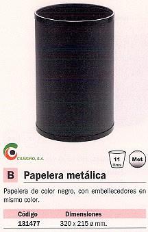 CILINDRO PAPELERA METÁLICA 11L NEGRA P-40