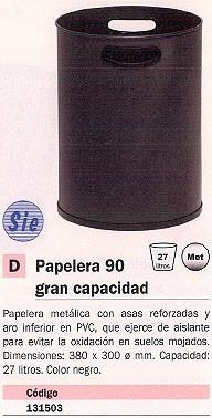 SIE PAPELERA 90 METÁLICA NEGRA 27 LITROS 90