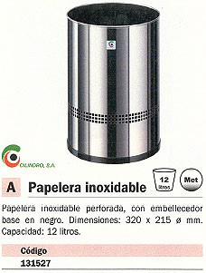 CILINDRO PAPELERA METÁLICA 12L ACERO INOXIDABLE P 45