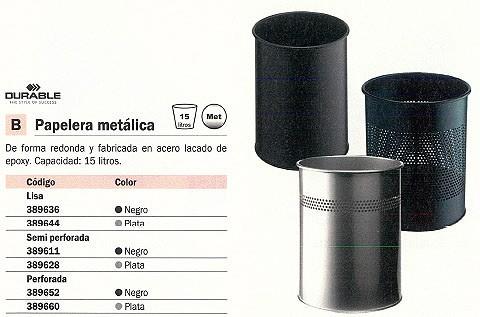 DURABLE PAPELERA METÁLICA 15L PLATA 3301-23