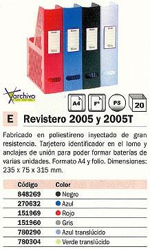 ARCHIVO 2000 REVISTERO 2005 POLIESTIRENO 235X75X315 MM A4 Y FOLIO GRIS 2005GR
