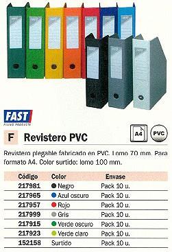 FAST REVISTERO PLEGABLE CAJA 10UD A4 LOMO 70 MM AZUL OSCURO PLEGABLE PVC 4710BX10