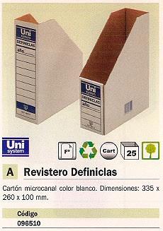 ENVASE DE 25 UNIDADES UNIPAPEL REVISTERO DEFINICLAS 335X260X100 MM BLANCO 96510
