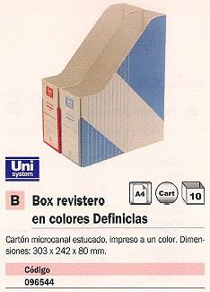 ENVASE DE 10 UNIDADES UNISYSTEM REVISTERO DEFINICLÁS 303X242X80 MM AZUL 1235.012.01.01