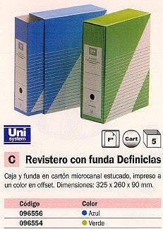 ENVASE DE 5 UNIDADES UNISYSTEM REVISTERO CON FUNDA DEFINICLAS CARTON 325X260X90MM. FOLIO AZUL 1235.004.01.01