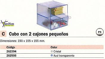 ARCHIVO 2000 CUBO ORGANIZADOR CON DOS CAJONES PEQUEÑOS TRANSPARENTE 195X155X155 MM 6706CSTP