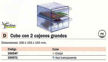 ARCHIVO 2000 CUBO ORGANIZADOR CON 2 CAJONES GRANDES TRANSPARENTE 155X155X155 MM 6702CSTP
