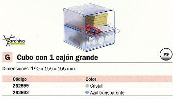 ARCHIVO 2000 CUBO ORGANIZADOR 1 CAJON GRANDE AZUL TRANSPARENTE 195X155X155 MM 6707AZTP