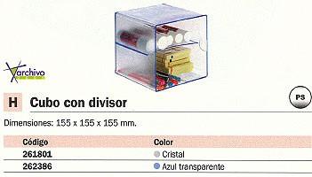 ARCHIVO 2000 CUBO ORGANIZADOR CON ANDEJA DIVISORIA AZUL TRANSPARENTE 155X155X155 MM 6705AZTP