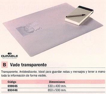 DURABLE VADES SOBREMESA 650X500 TRANSPARENTE ANTIDESLIZANTE 7113